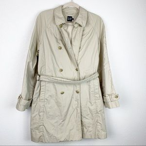 Gap Khaki Button Down Trench Coat with Belt Lg
